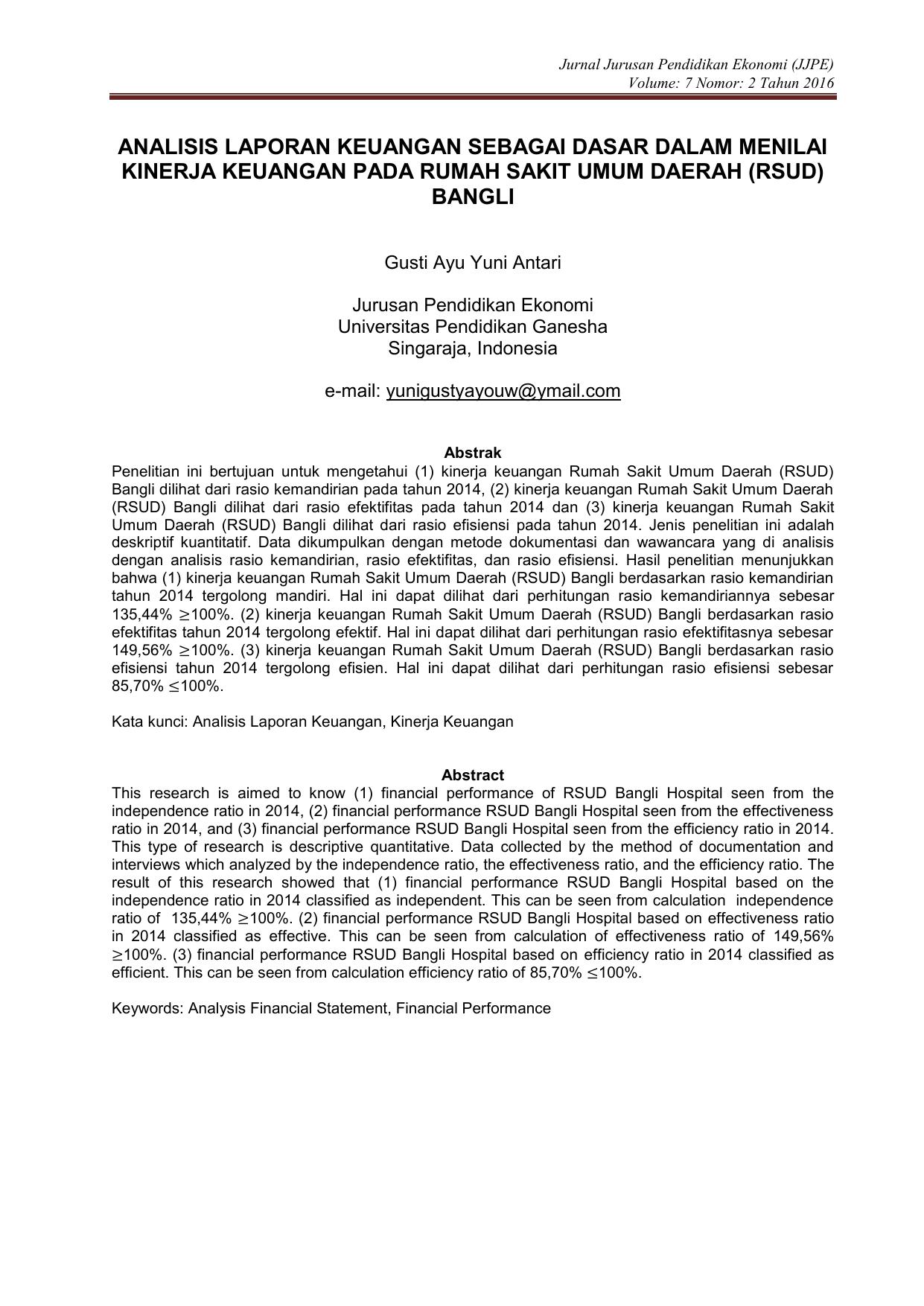 Analisis Laporan Keuangan Sebagai Dasar Dalam Menilai Kinerja