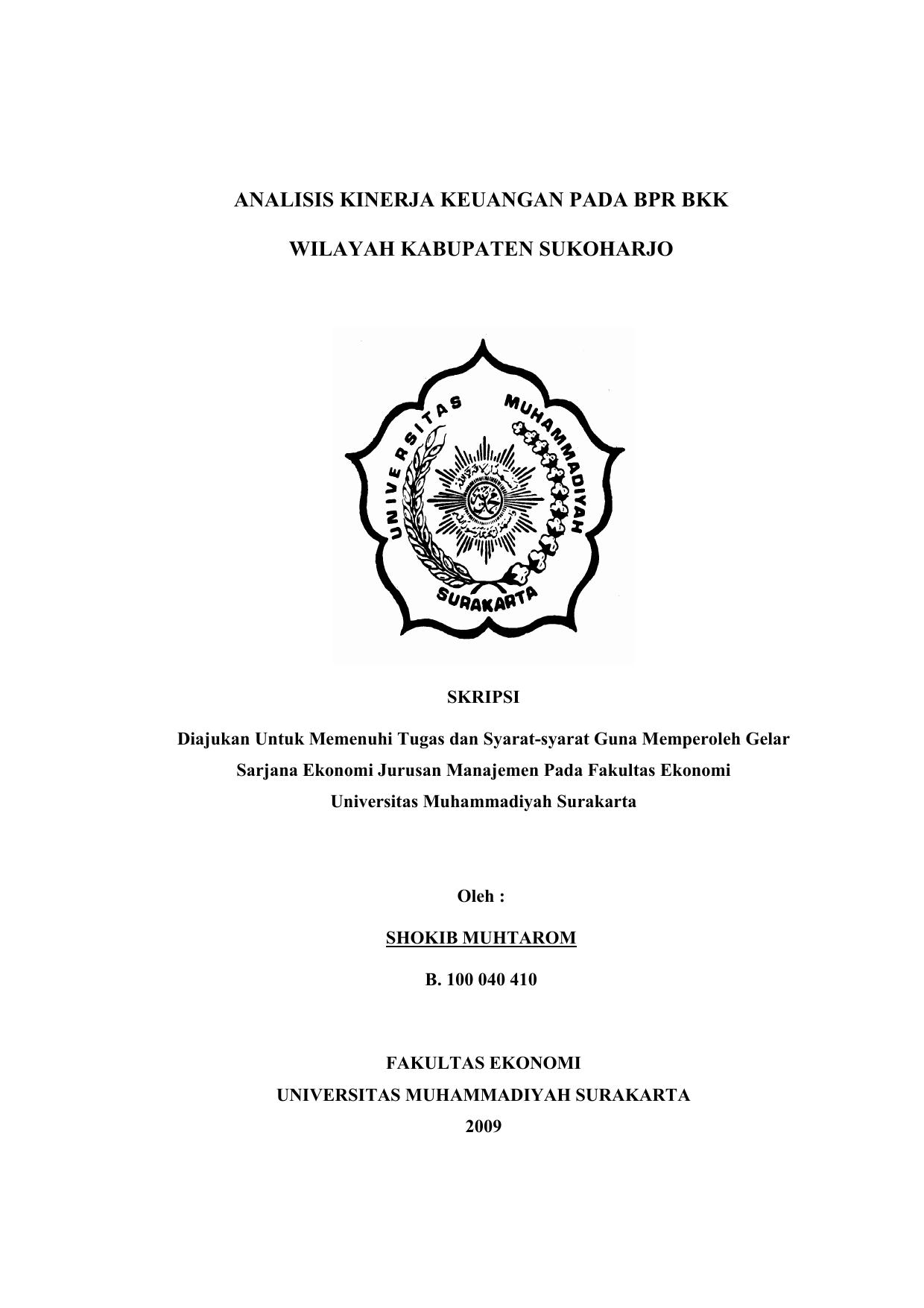 Analisis Kinerja Keuangan Pada Bpr Bkk Wilayah Kabupaten Sukoharjo