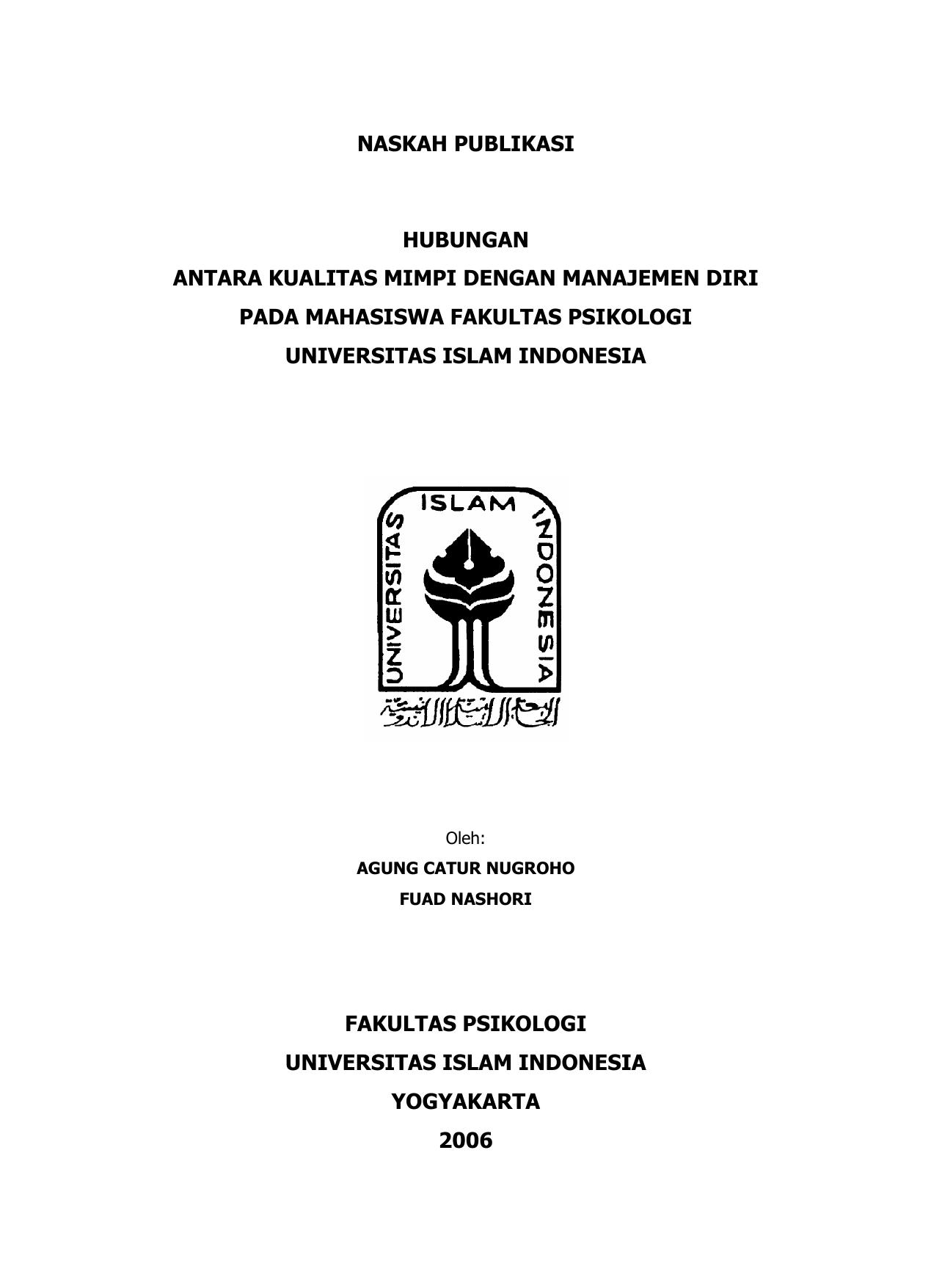 Naskah Publikasi Fakultas Psikologi Uii