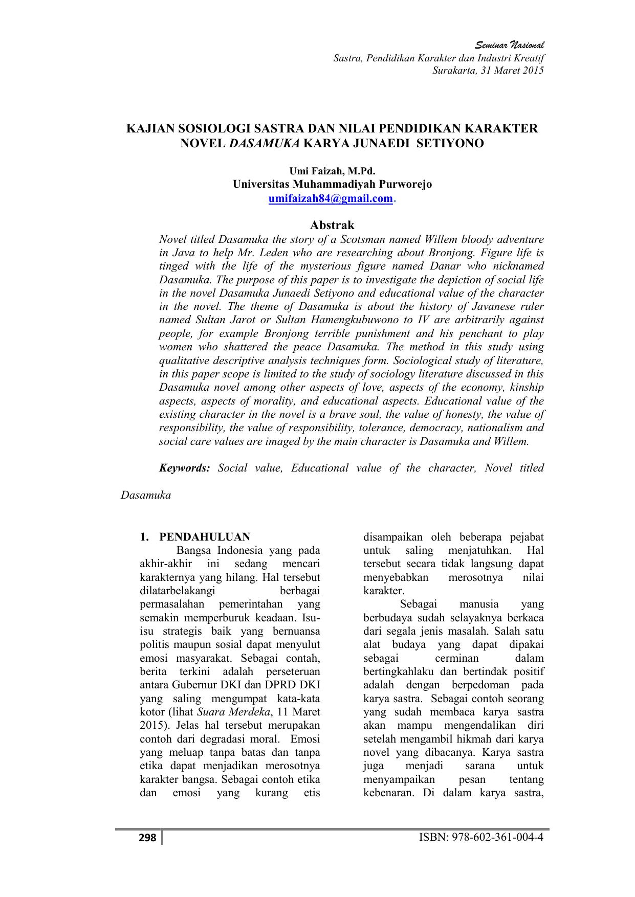 Kajian Sosiologi Sastra Dan Nilai Pendidikan Karakter