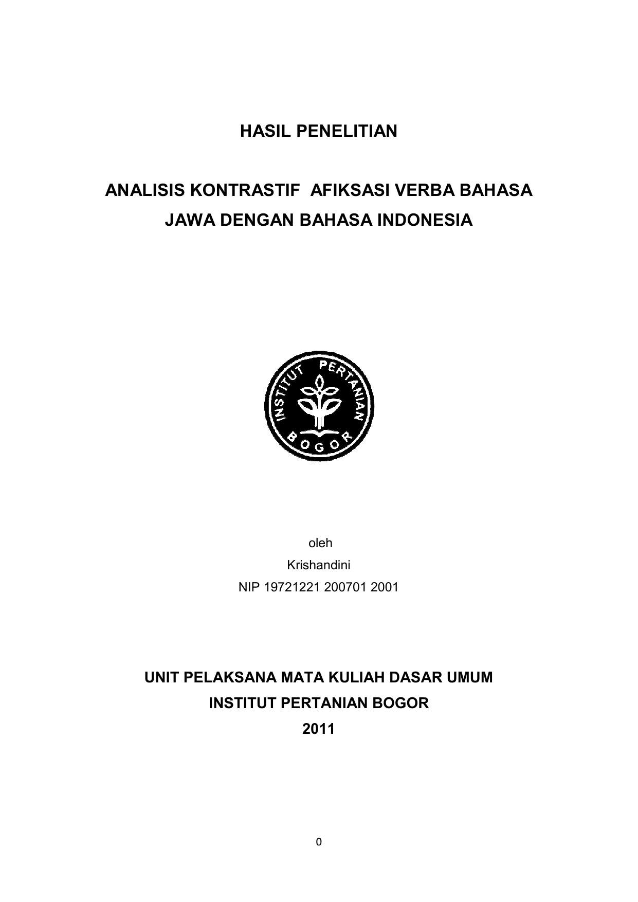 Analisis Kontrastif Jawa Dengan Hasil Penelitian Isis
