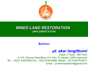 MINED LAND RESTORATION pt. akar langitbumi