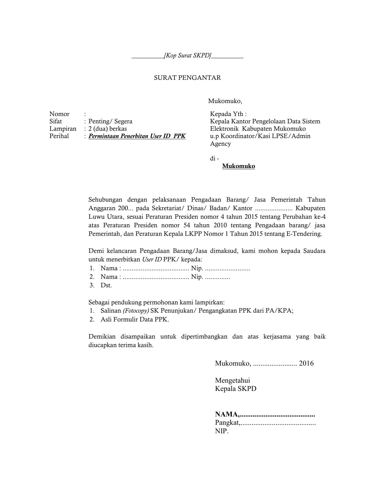 Format Surat Permintaan Penerbitan User Id Ppk