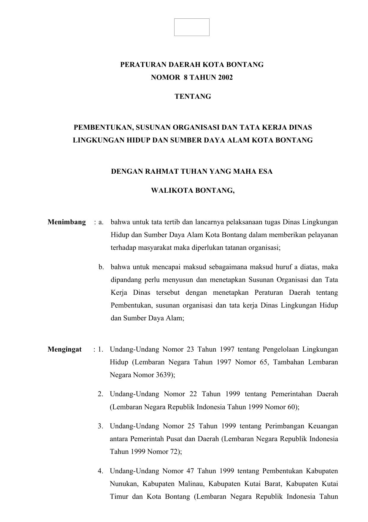 Peraturan Daerah Kota Bontang Nomor 8 Tahun 2002 Tentang