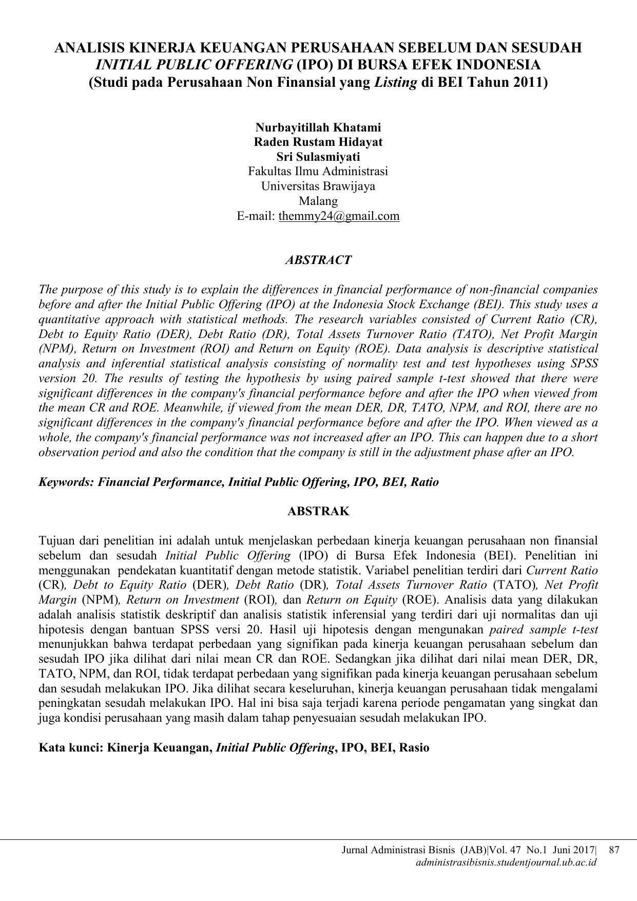 Analisis Kinerja Keuangan Perusahaan Sebelum Dan