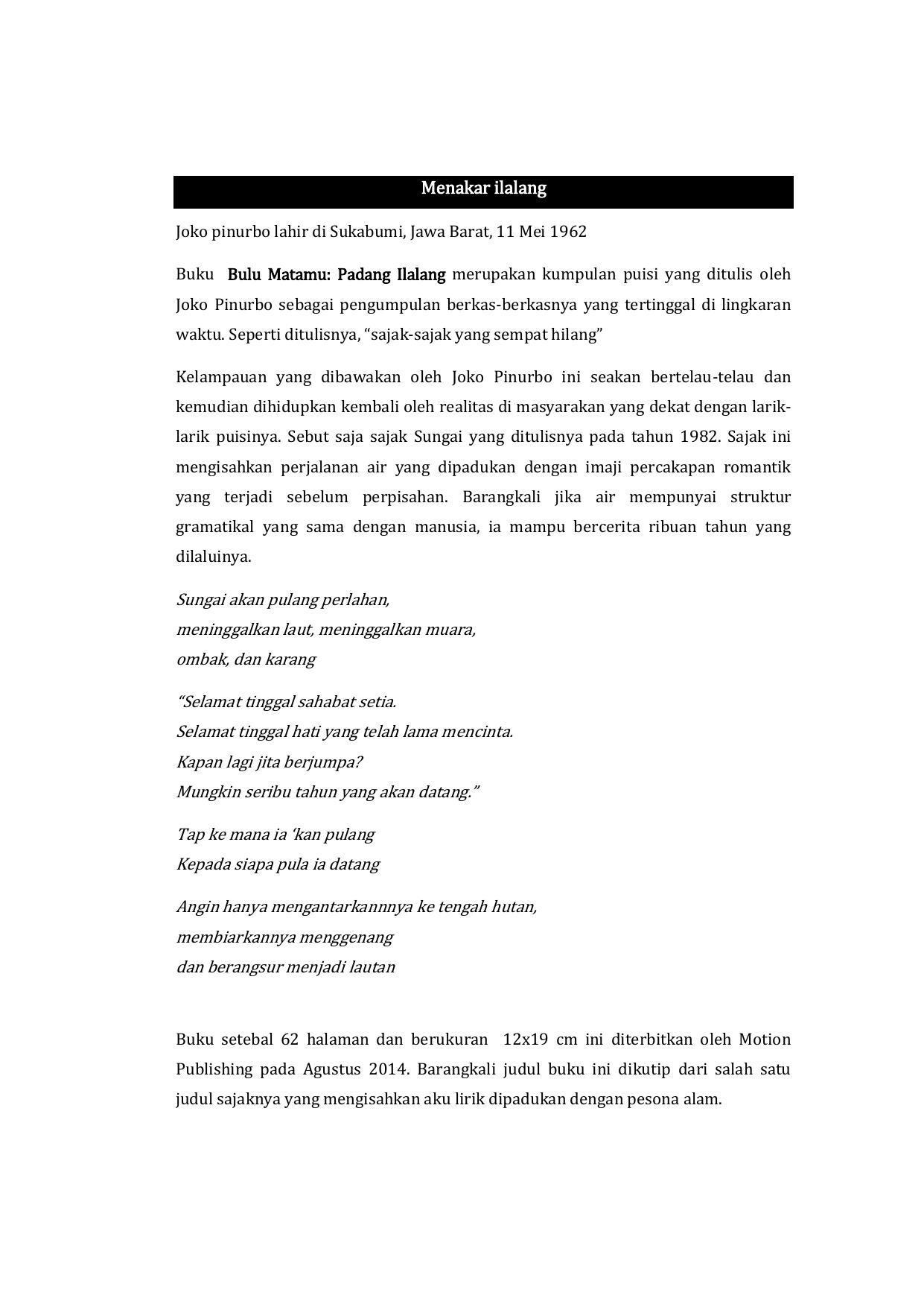 Estetika Dalam Kumpulan Puisi Bulu Matamu Padang