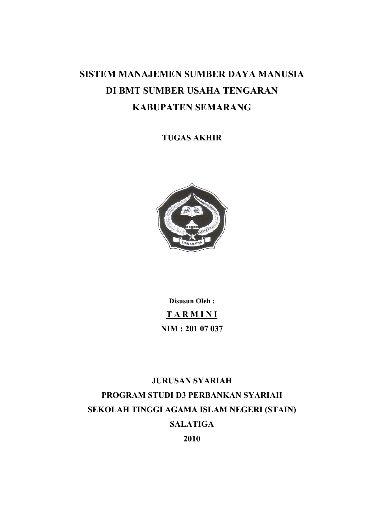 Contoh Laporan Kkn Individu Jurusan Perbankan Syariah
