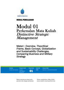 Pengantar Materi Distinctive Strategic Management.