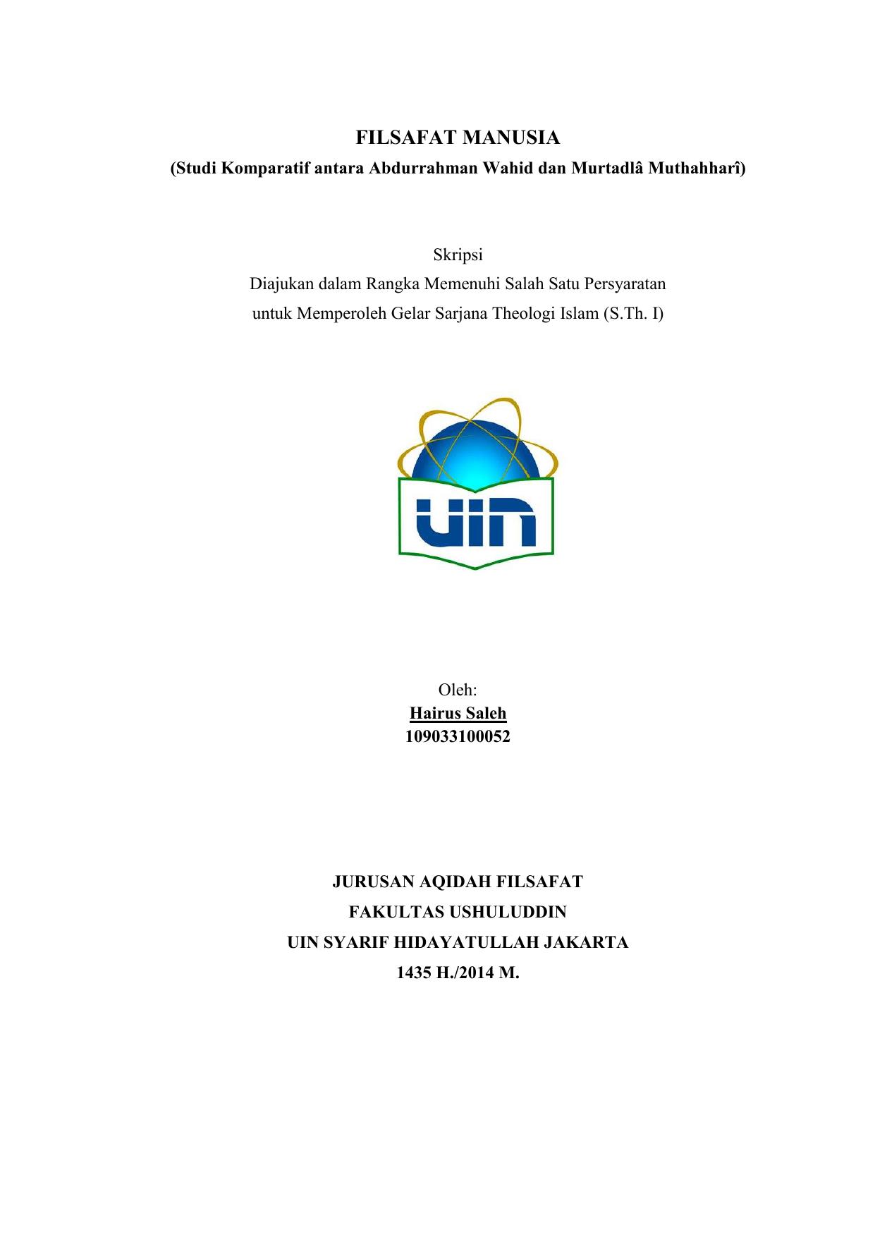 Filsafat Manusia Institutional Repository Uin Syarif Hidayatullah
