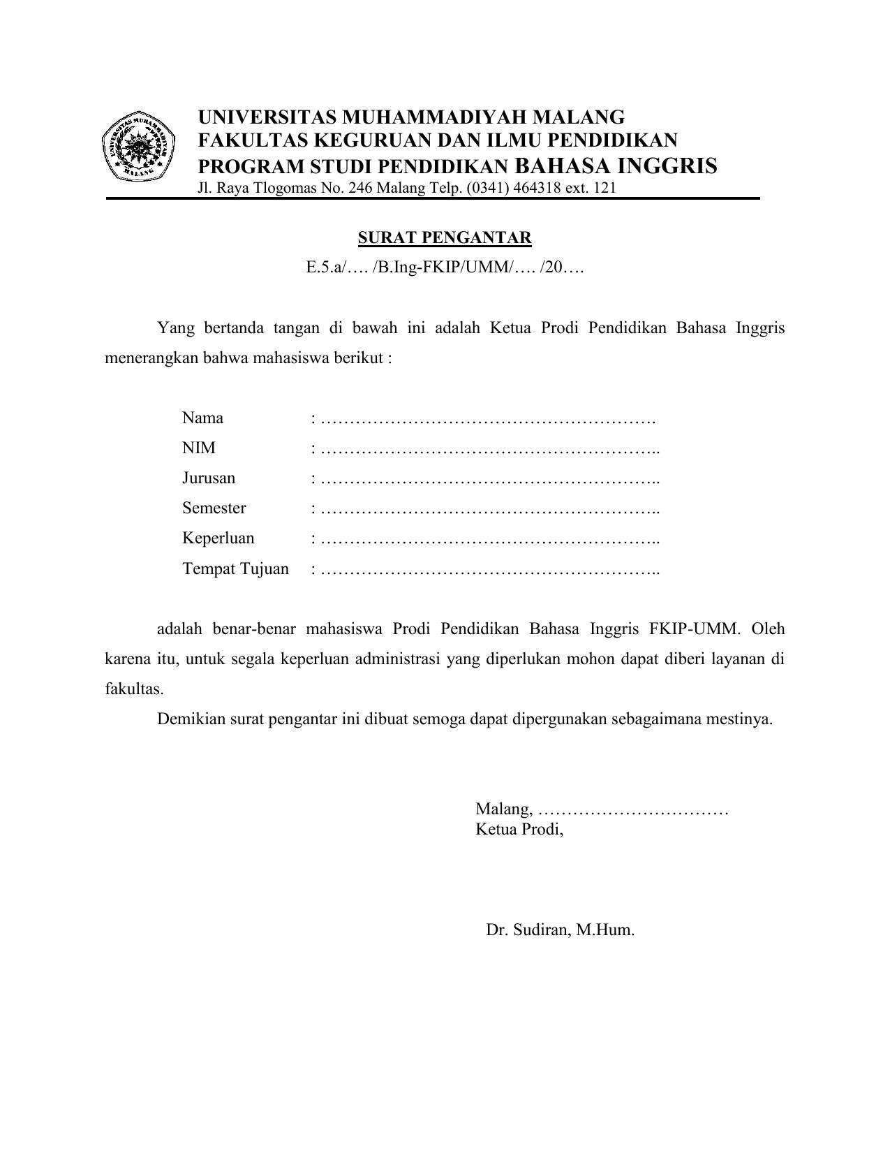 Surat Pengantar Pendidikan Bahasa Inggris