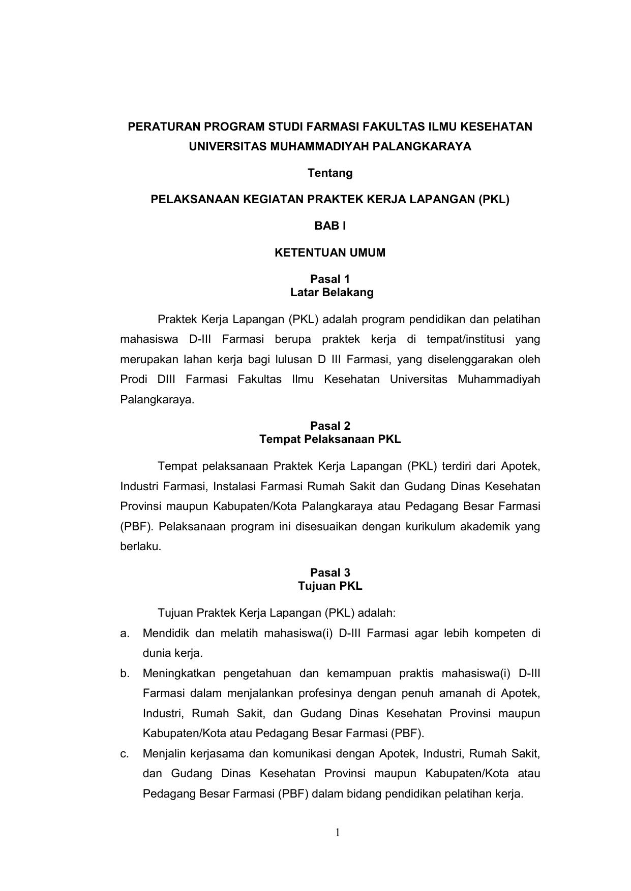 Peraturan Program Studi Farmasi Fakultas Ilmu