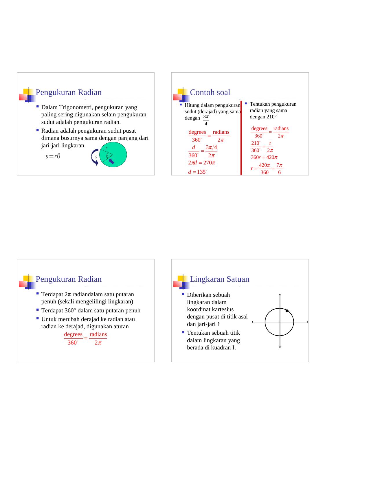 Pengukuran Radian Pengukuran Radian Contoh Soal Lingkaran