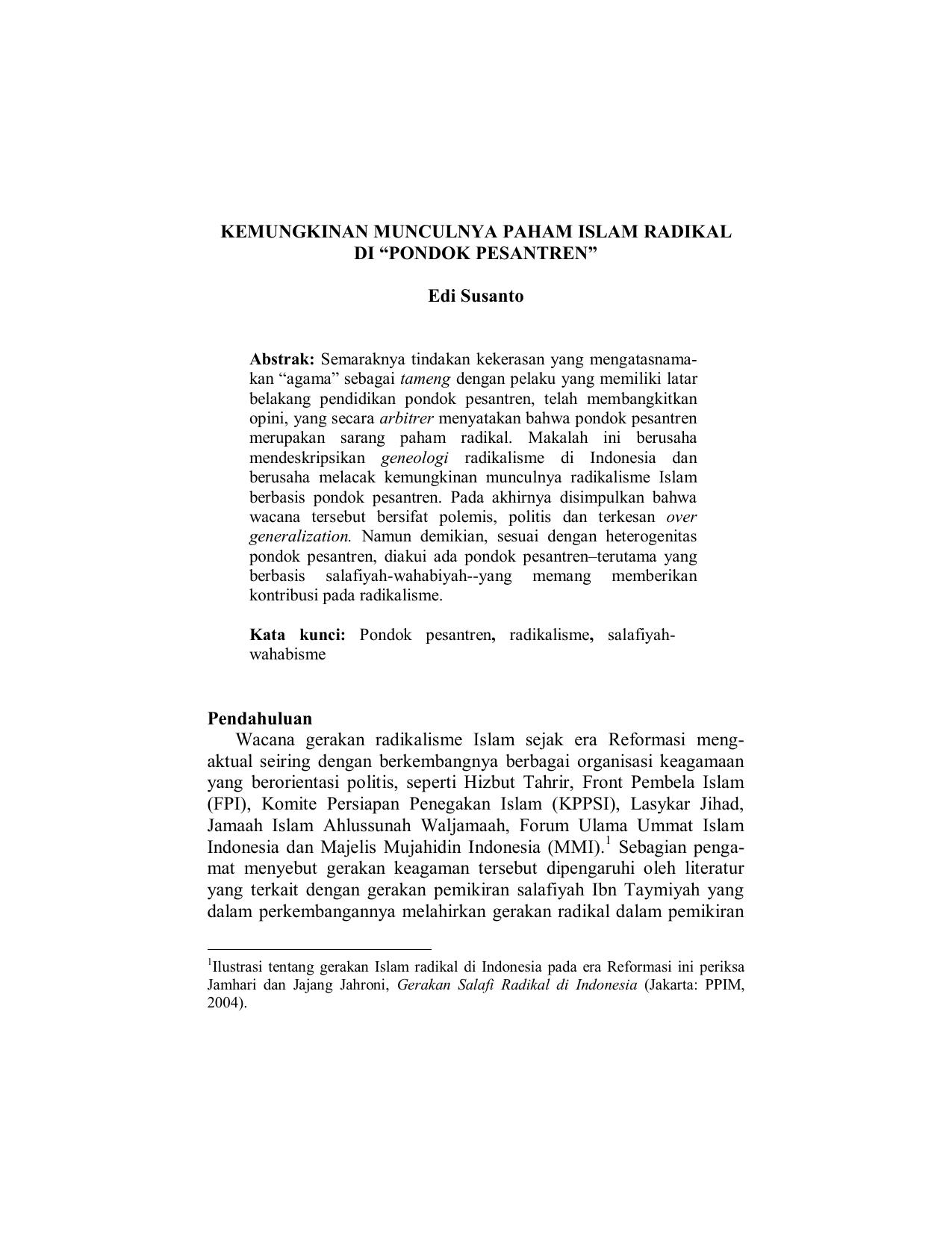 Makalah Gerakan Radikalisme Di Indonesia