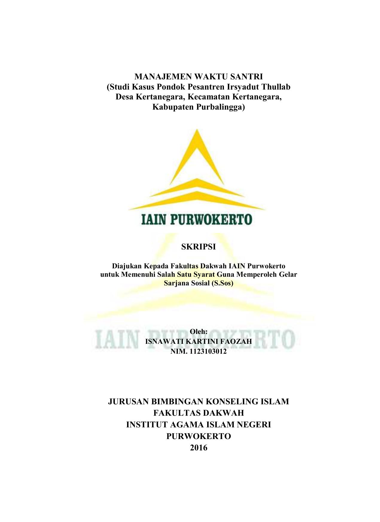 Manajemen Waktu Santri Repository Iain Purwokerto