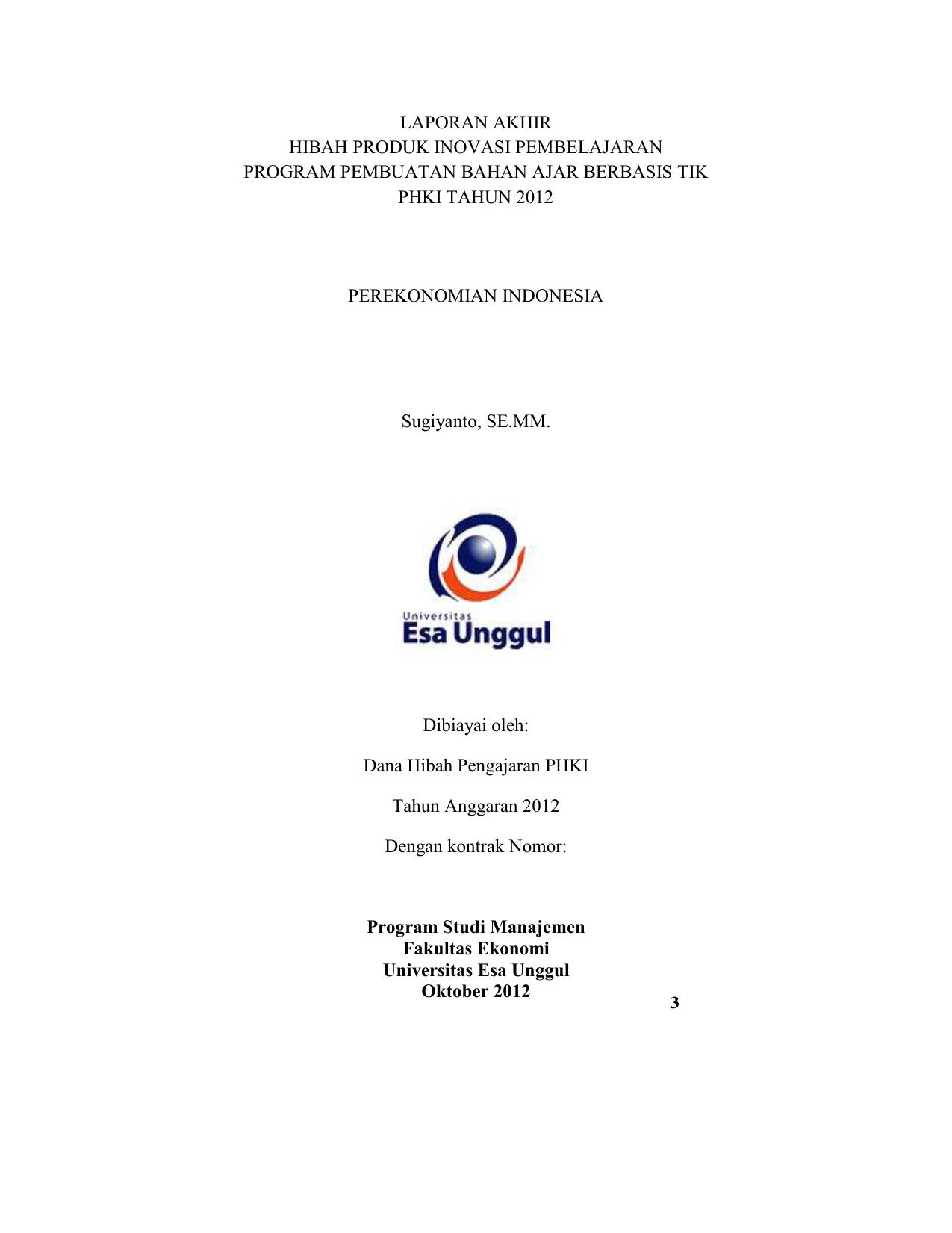 Inflasi Dan Pengangguran Perekonomian Indonesia