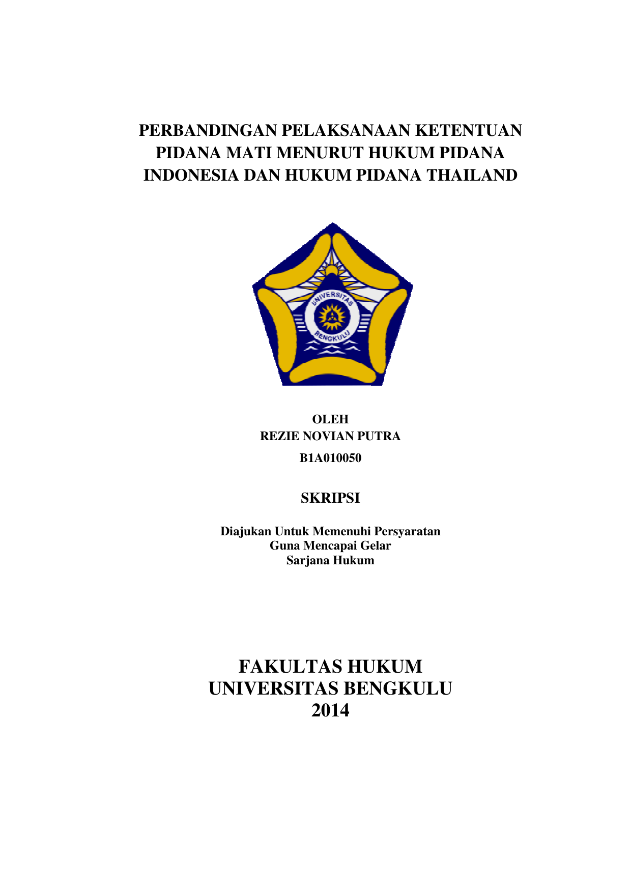 Fakultas Hukum Universitas Bengkulu 2014