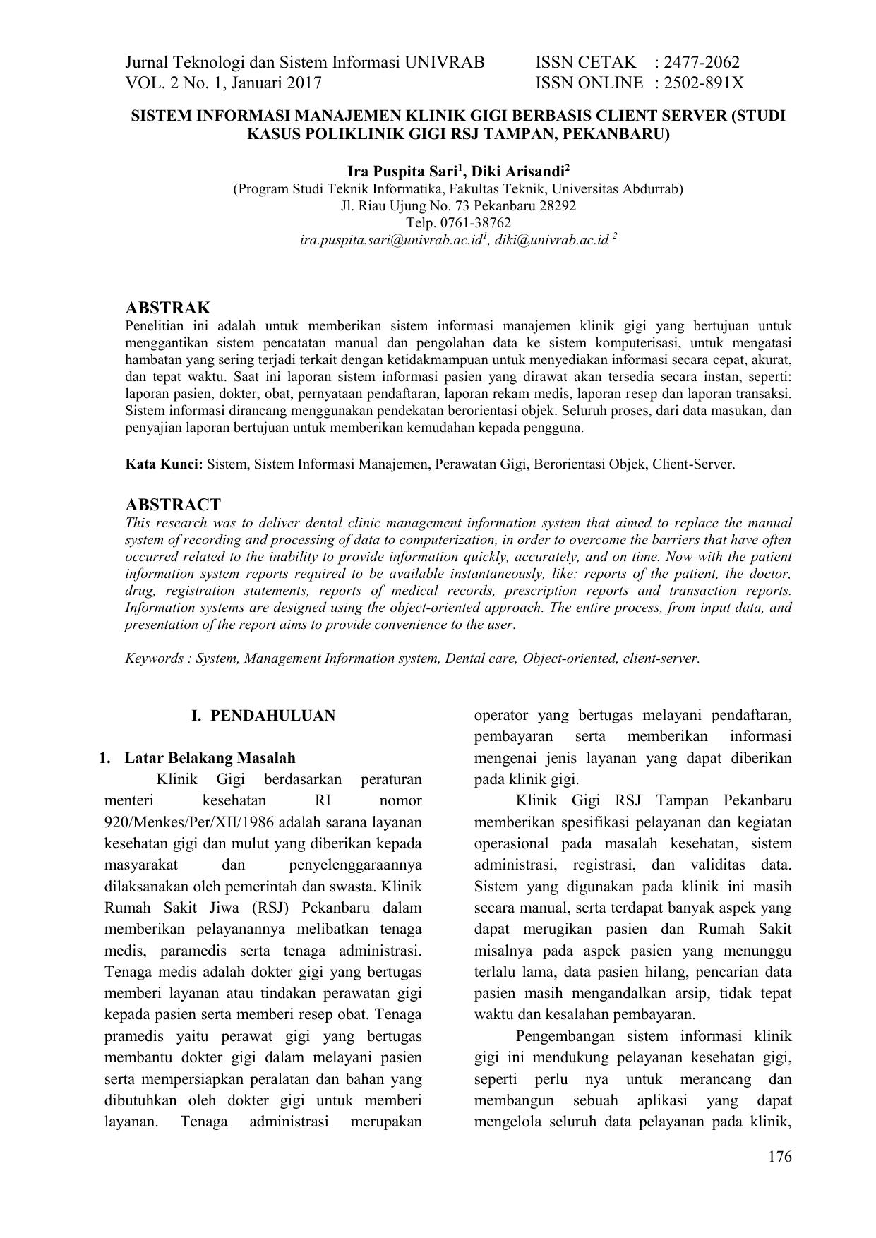 Jurnal Teknologi Dan Sistem Informasi Univrab Issn Cetak