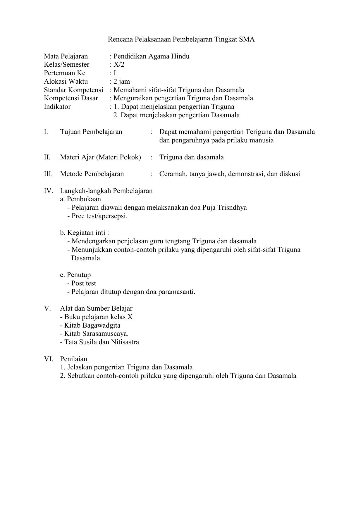 Rpp Agama Hindu Revisi Sekolah