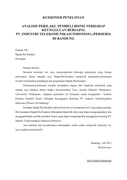 Lampiran 1 Kuesioner Penelitian Pengaruh Pelaksanaan Program