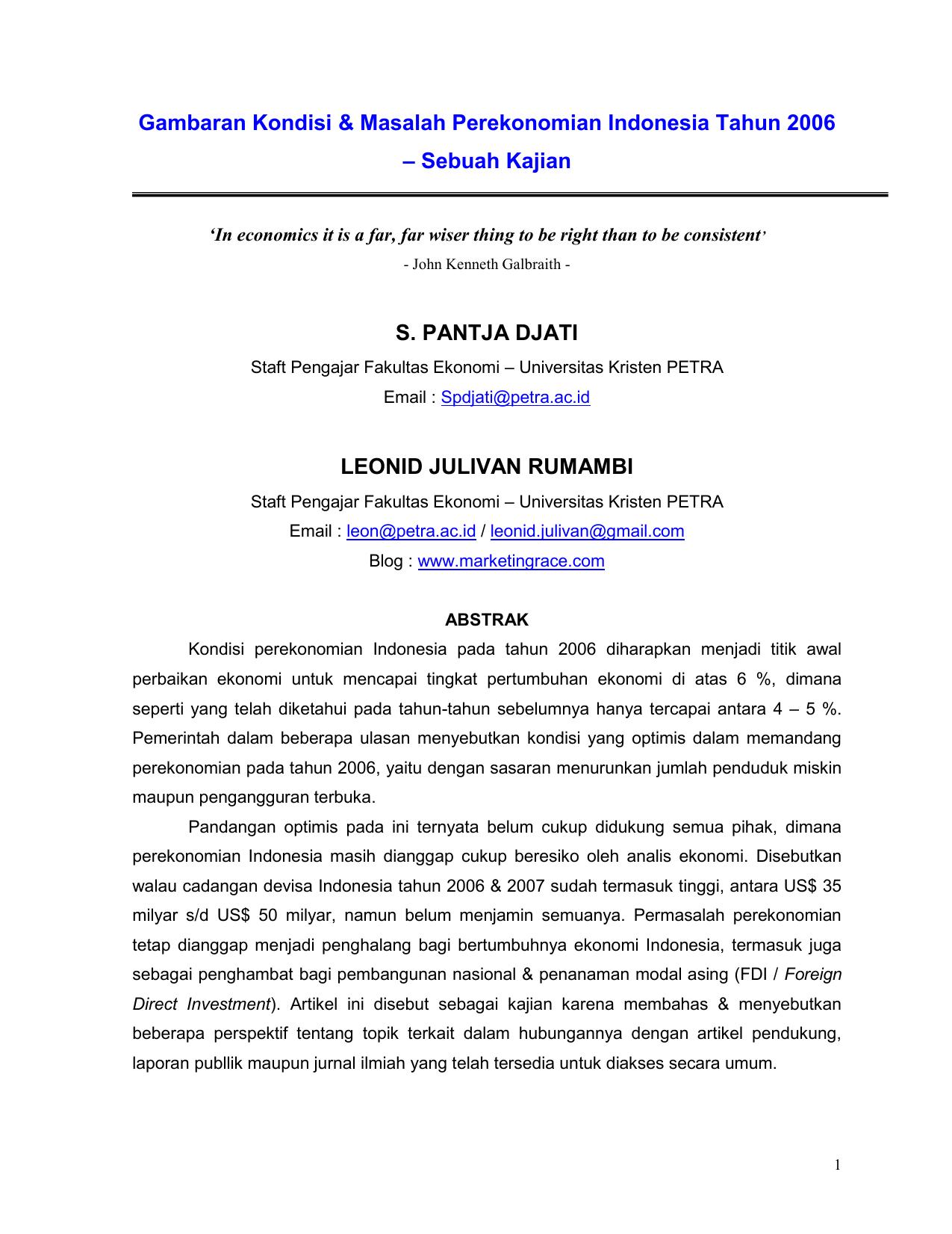 Masalah Dalam Ekonomi Indonesia Faculty E