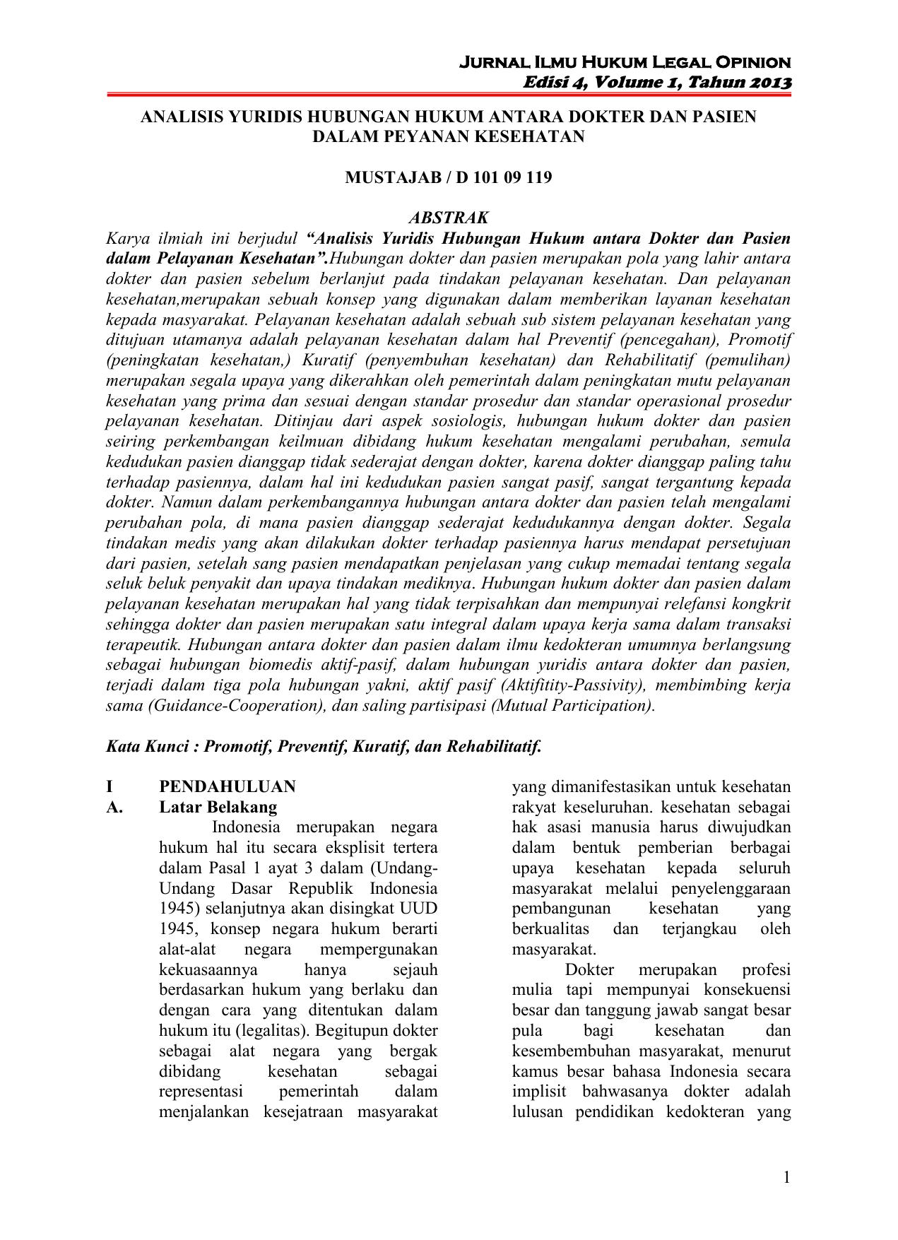 Jurnal Ilmu Hukum Legal Opinion Edisi 4 Volume 1