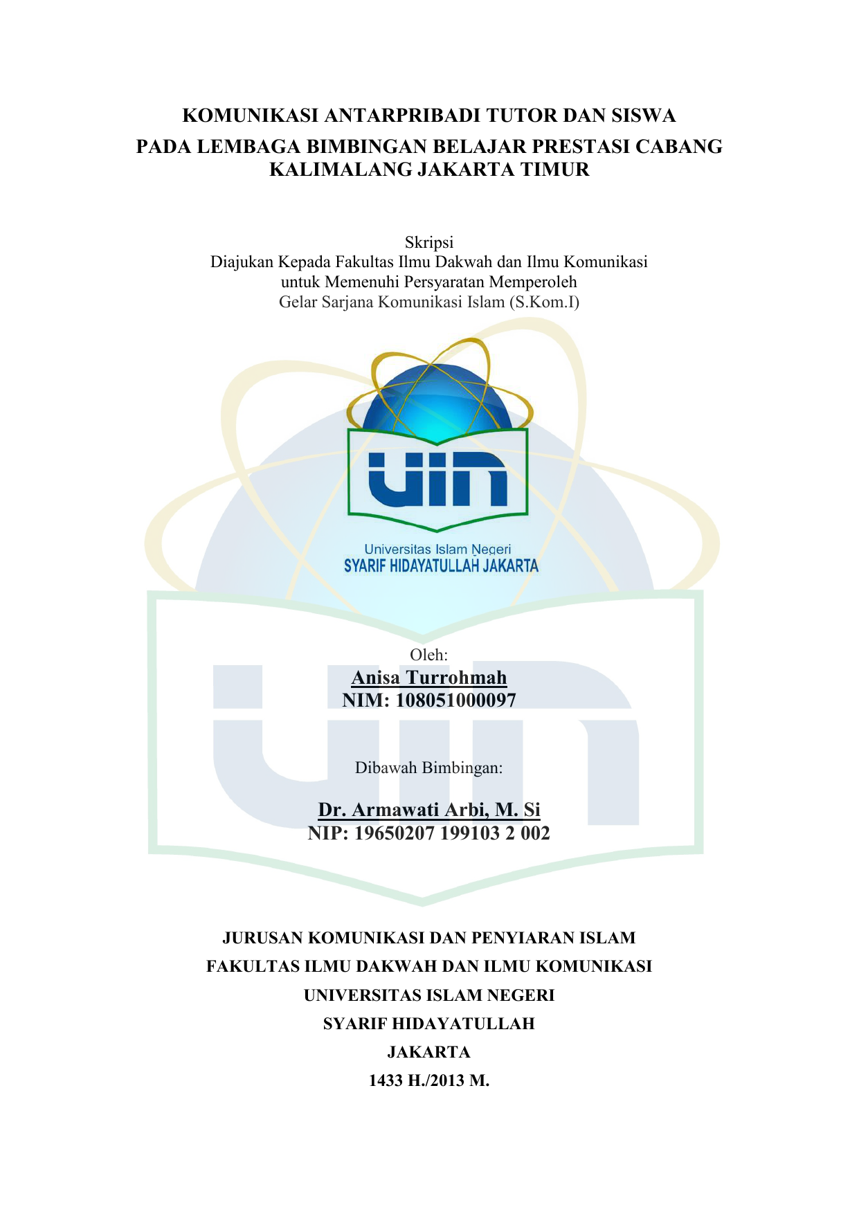Anisa Turrohmah Fdk Institutional Repository Uin Syarif