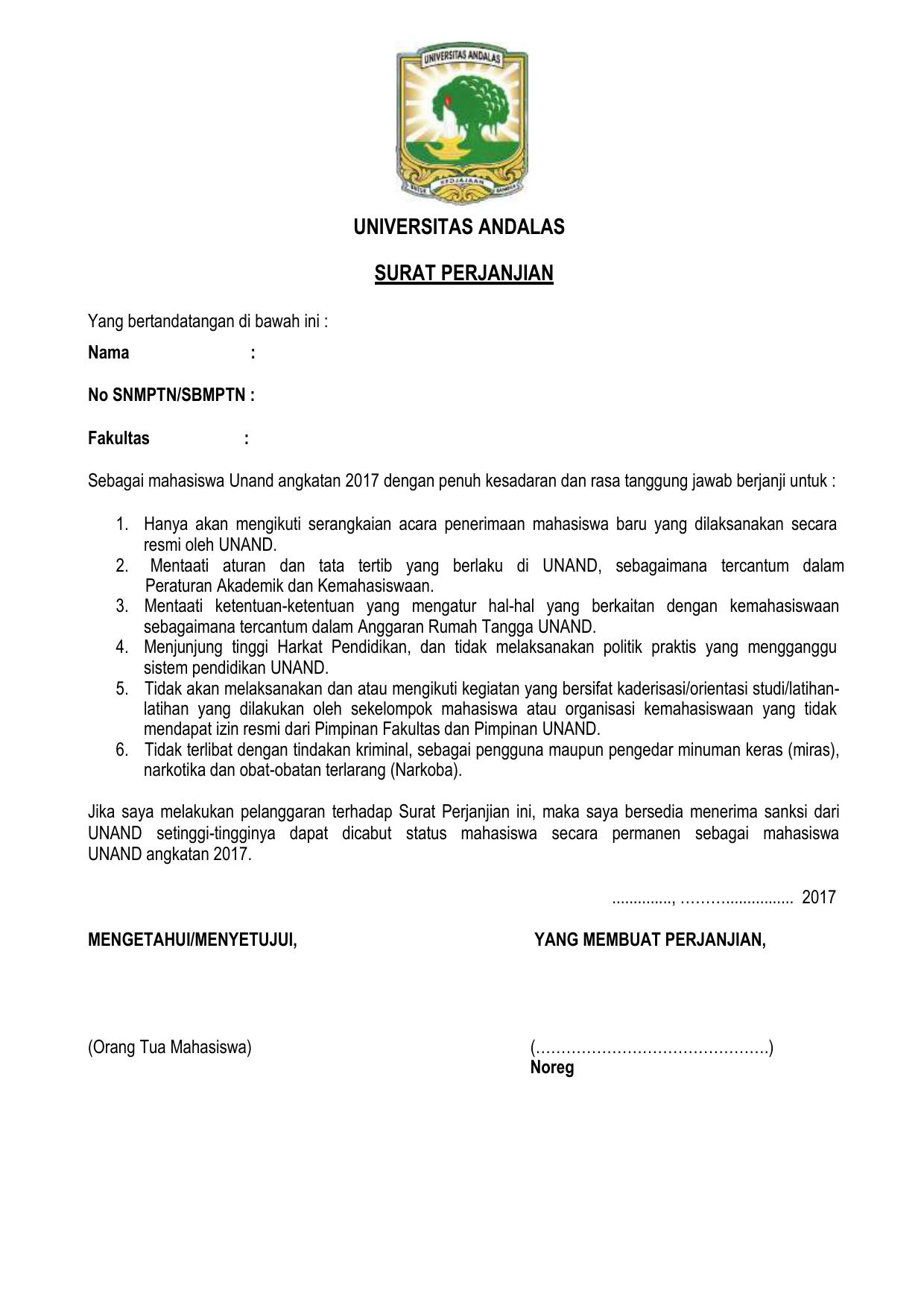 Surat Perjanjian Mahasiswa Baru Repositori Universitas Andalas