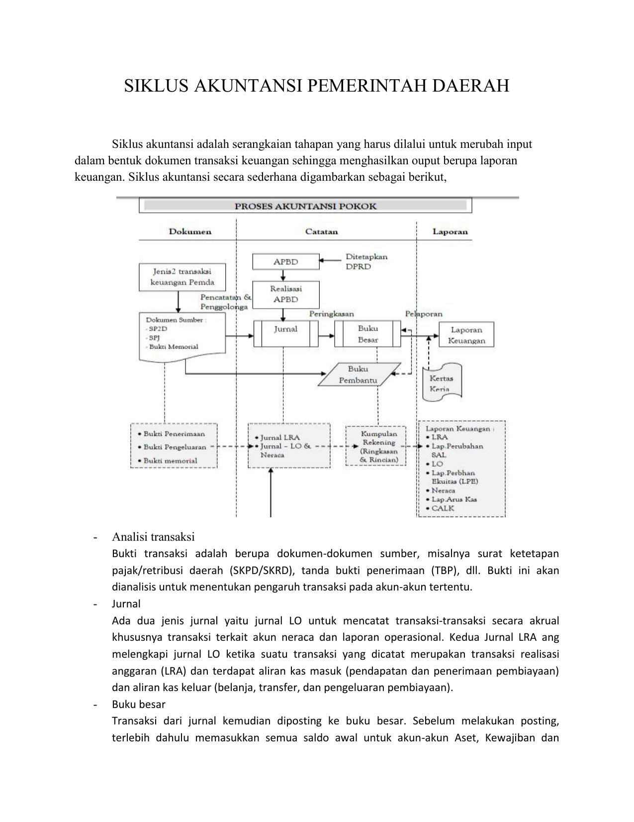 Siklus Akuntansi Pemerintah Daerah Siklus Akuntansi
