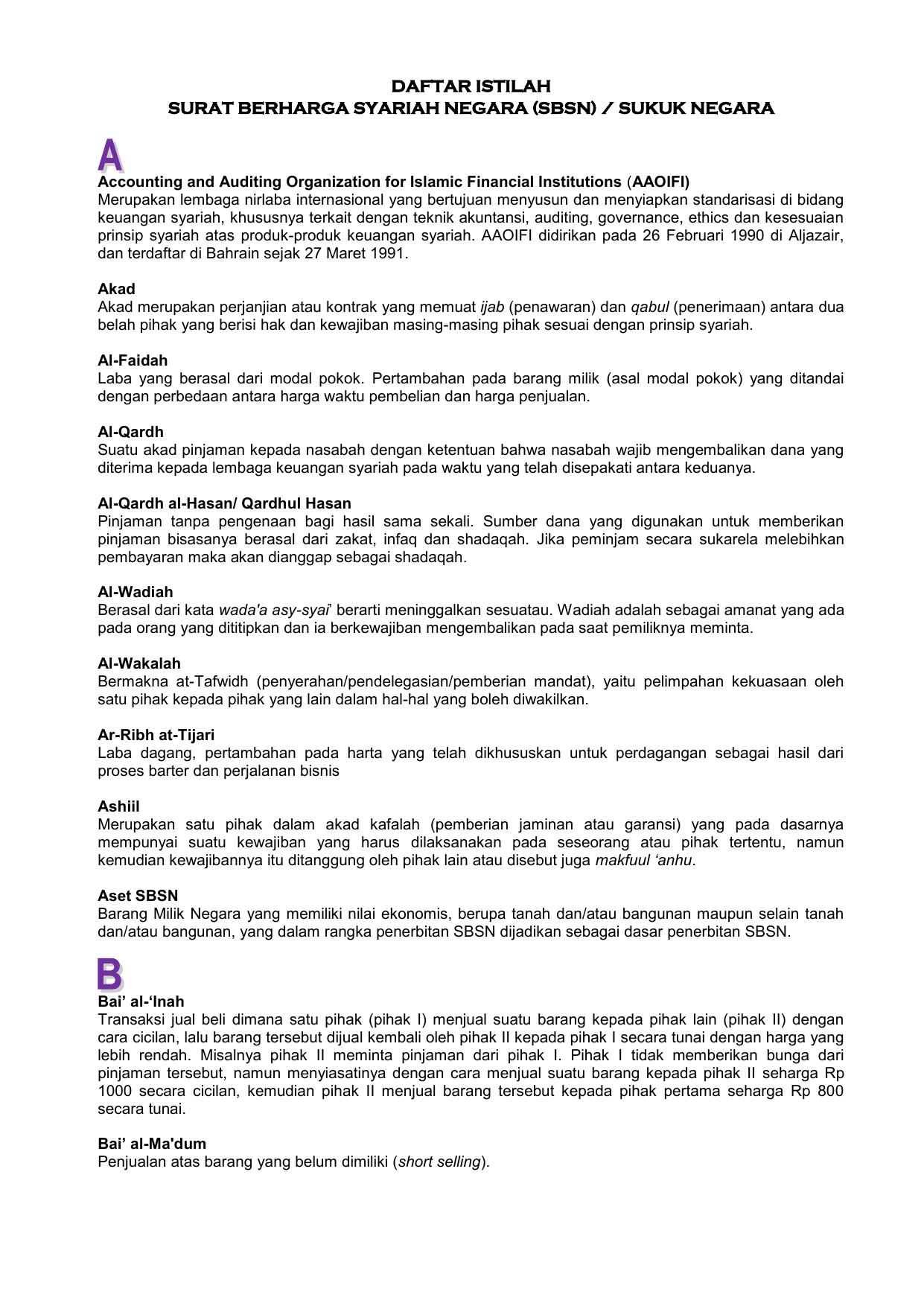 Daftar Istilah Surat Berharga Syariah Negara Sbsn Sukuk