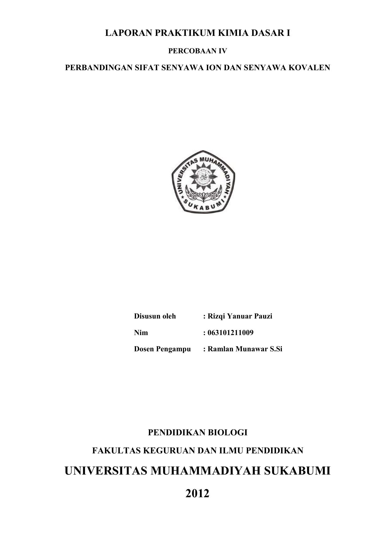 Laporan Praktikum Kimia Ion Kovalen