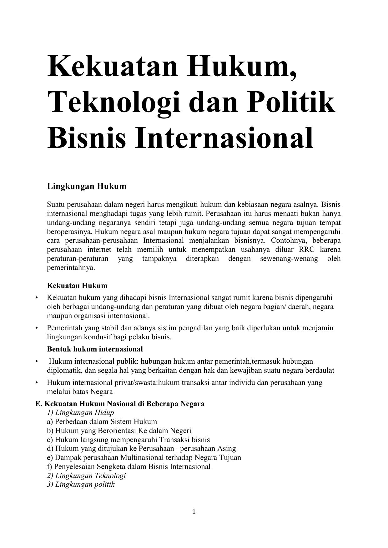 Kekuatan Hukum Teknologi Dan Politik Bisnis Internasional