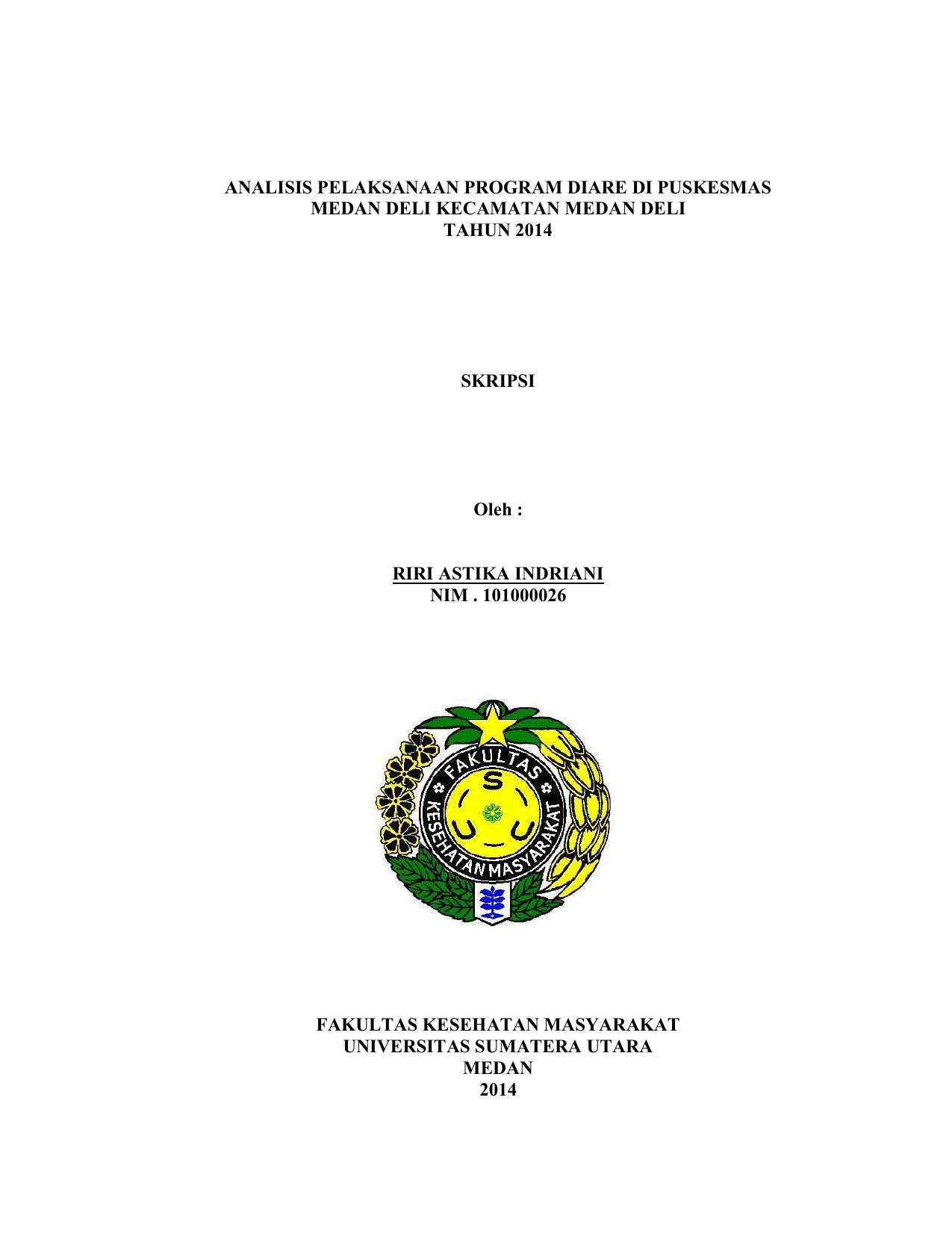Analisis Pelaksanaan Program Diare Di Puskesmas Oralit 200 Ml Biji