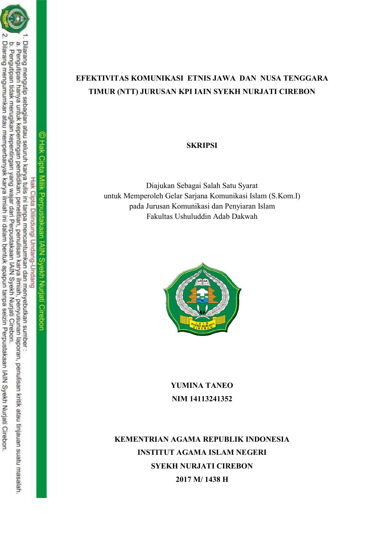 Efektivitas Komunikasi Etnis Jawa Dan Nusa Tenggara