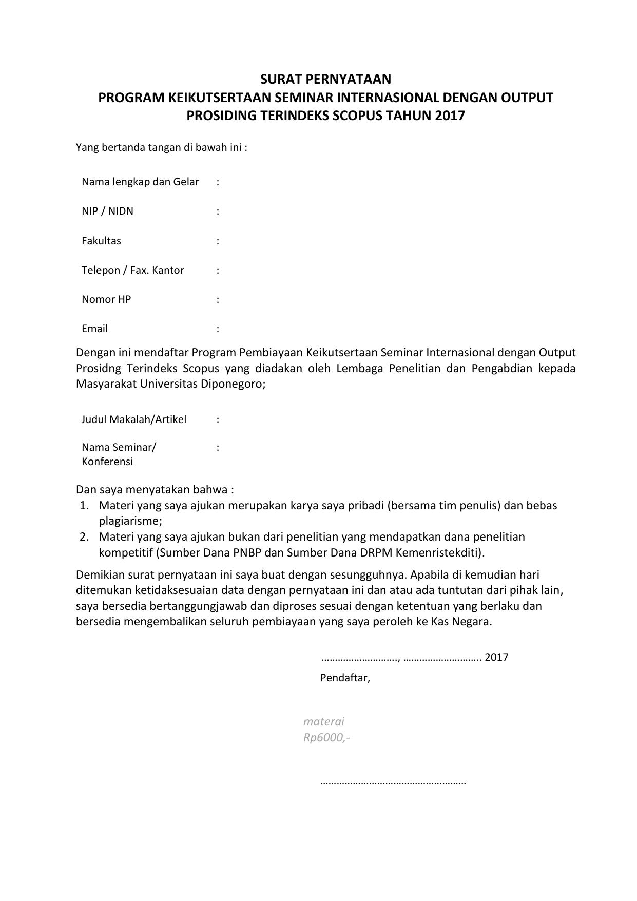 Contoh Surat Pernyataan Program Keikutsertaan