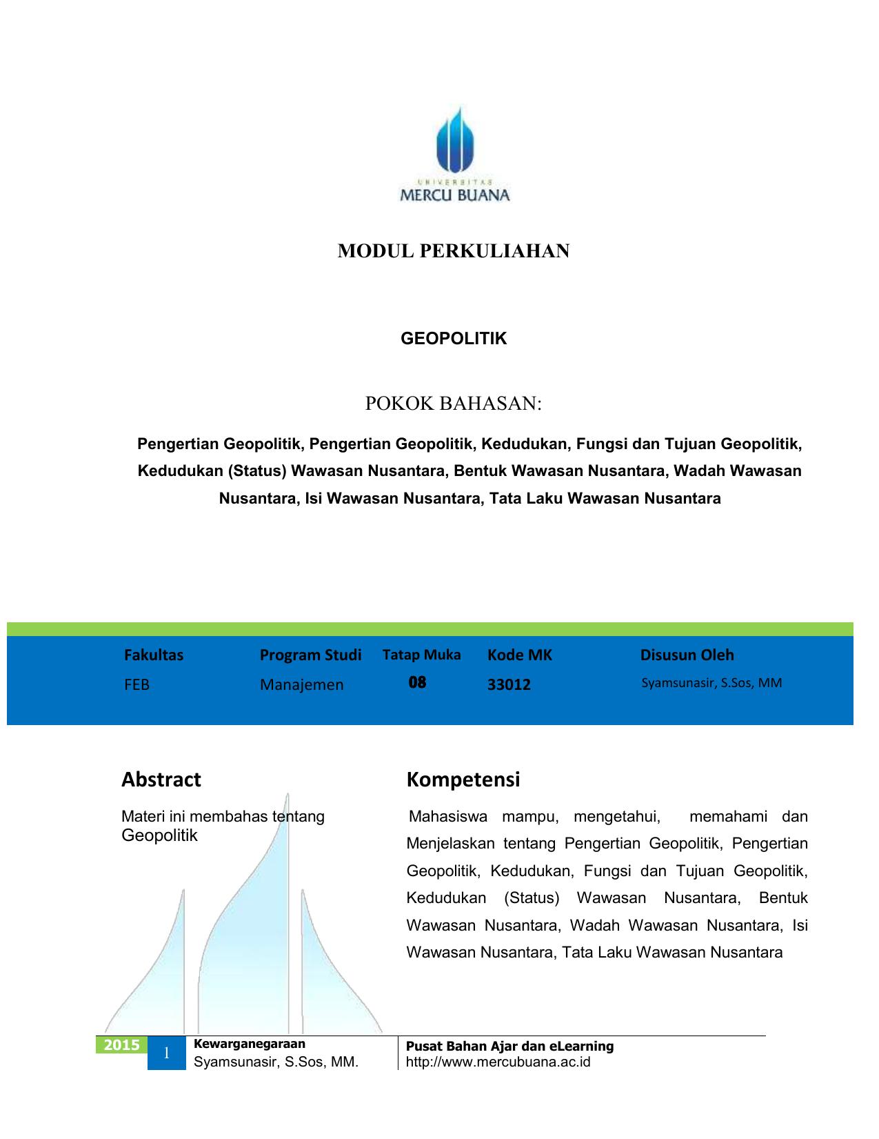 I  Implementasi Wawasan Nusantara