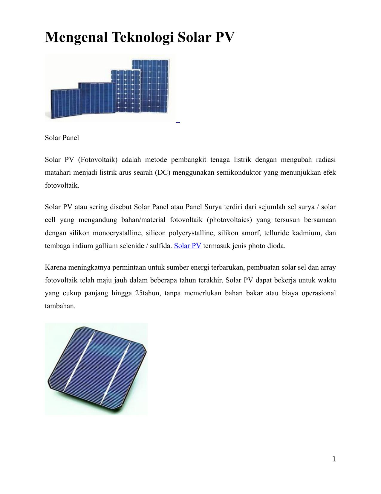 Pembangkit Listrik Energi Surya Sering Disebut Juga Dengan ...