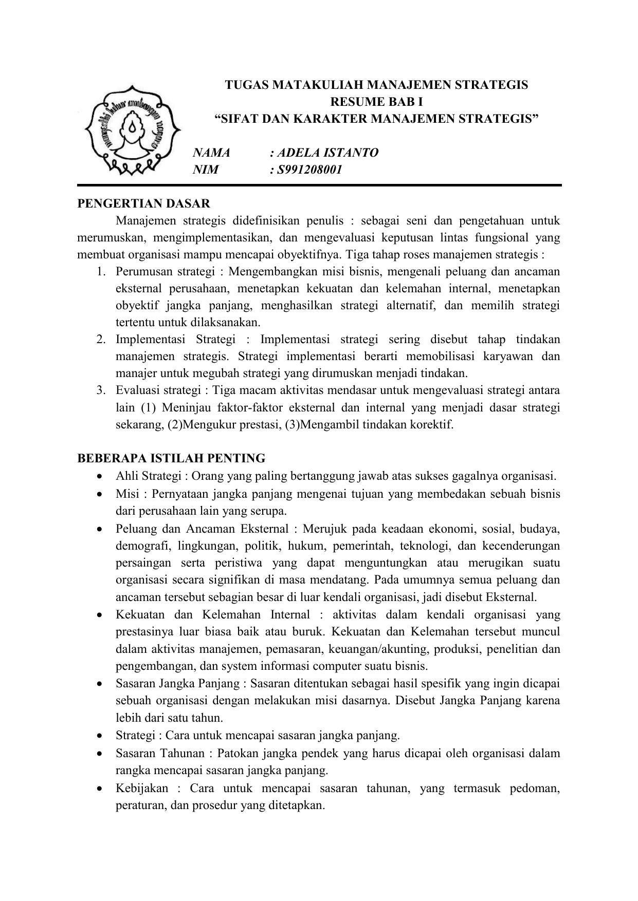Tugas Matakuliah Manajemen Strategis Resume Bab I