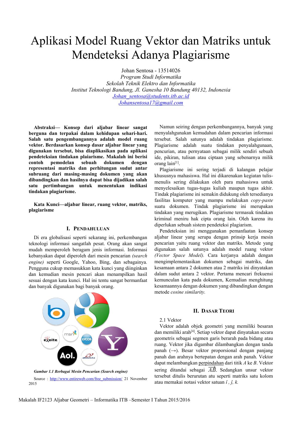 Aplikasi Model Ruang Vektor Dan Matriks Untuk Mendeteksi