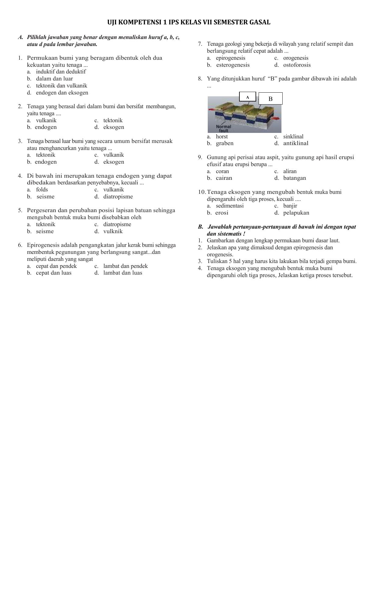 Uji Kompetensi 1 Ips Kelas Vii Semester Gasal A Pilihlah
