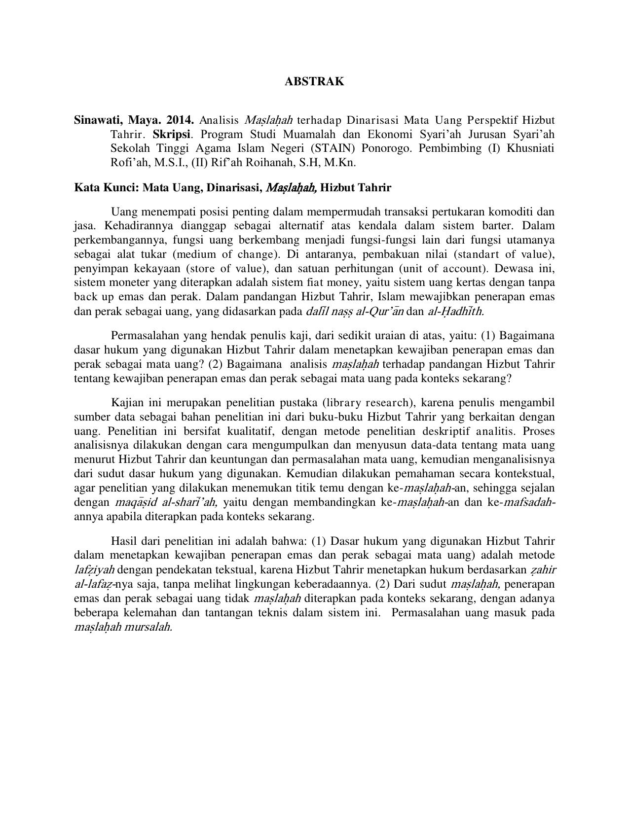 Abstrak Tahrir Skripsi Program Studi Muamalah Dan Ekonomi