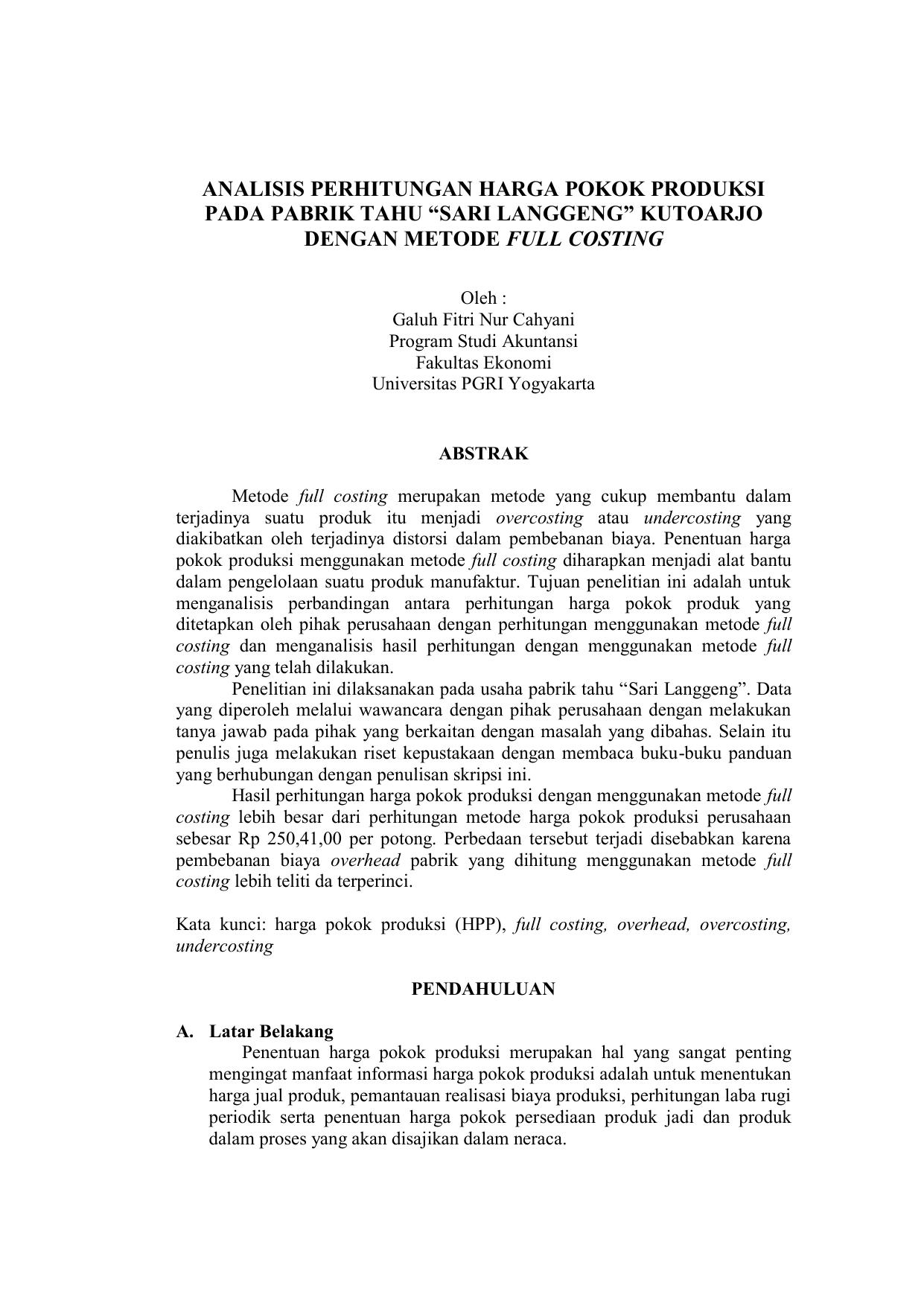 Analisis Perhitungan Harga Pokok Produksi Pada Pabrik Tahu