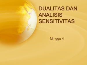DUALITAS (Post Optimal) dan ANALISIS SENSITIVITAS