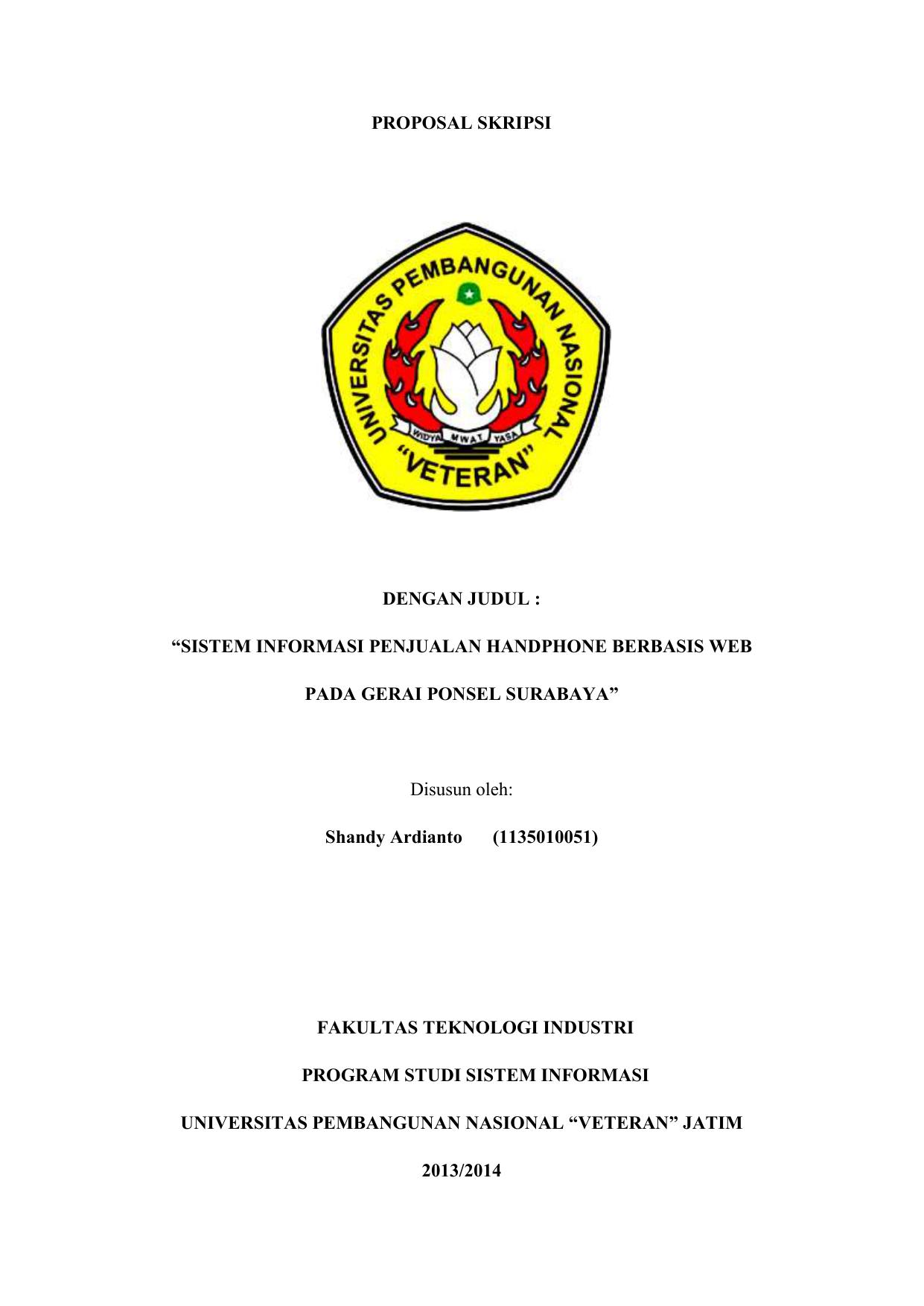 Proposal Skripsi Dengan Judul Sistem Informasi
