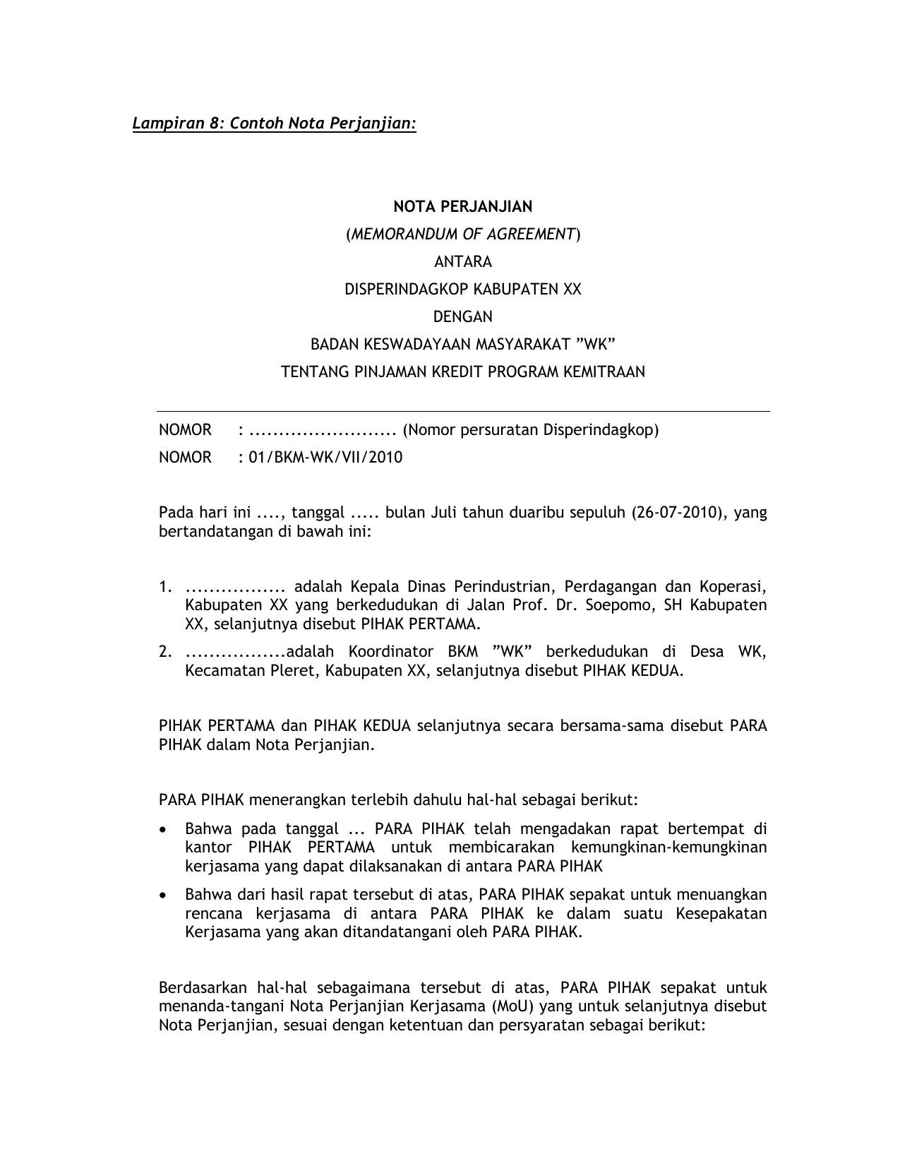 Lampiran 8 Contoh Nota Perjanjian Nota Perjanjian