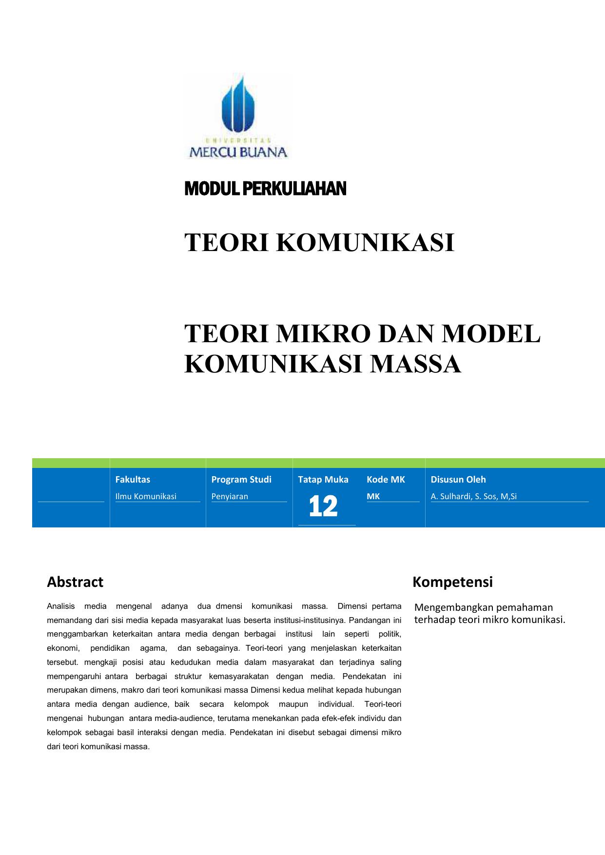 Teori Komunikasi Mikro Dan Model Massa Ekonomi Makro Pratama