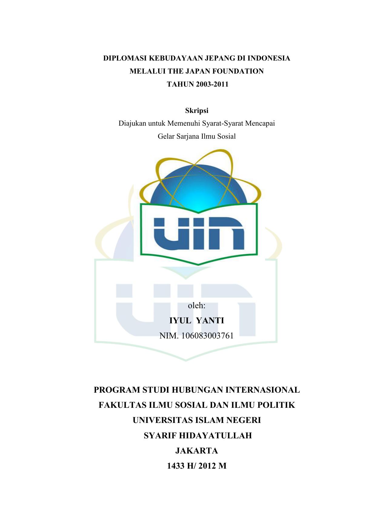 Skripsi Hubungan Internasional Uin Jakarta Ide Judul Skripsi Universitas