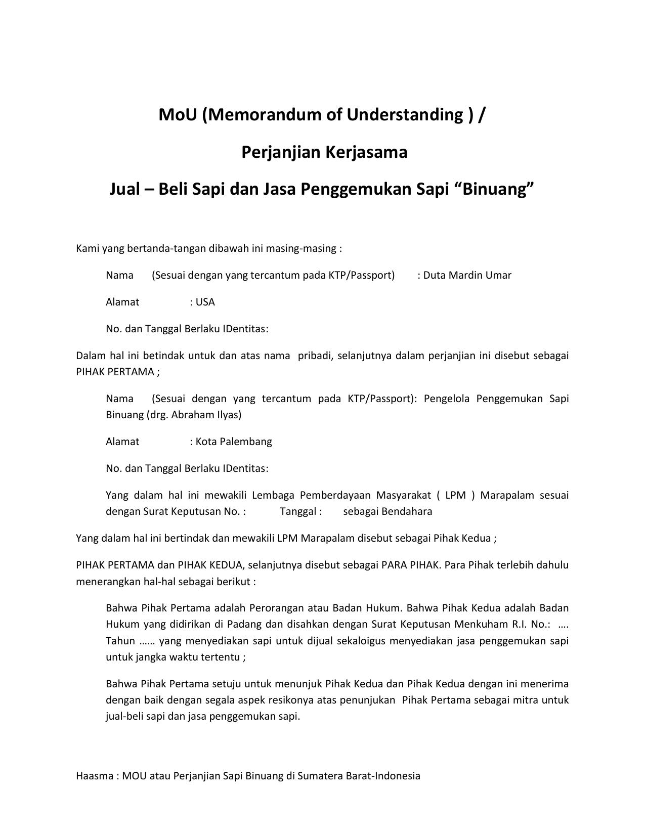 Perjanjian Kerjasama Jual Beli Sapi Dan Jasa