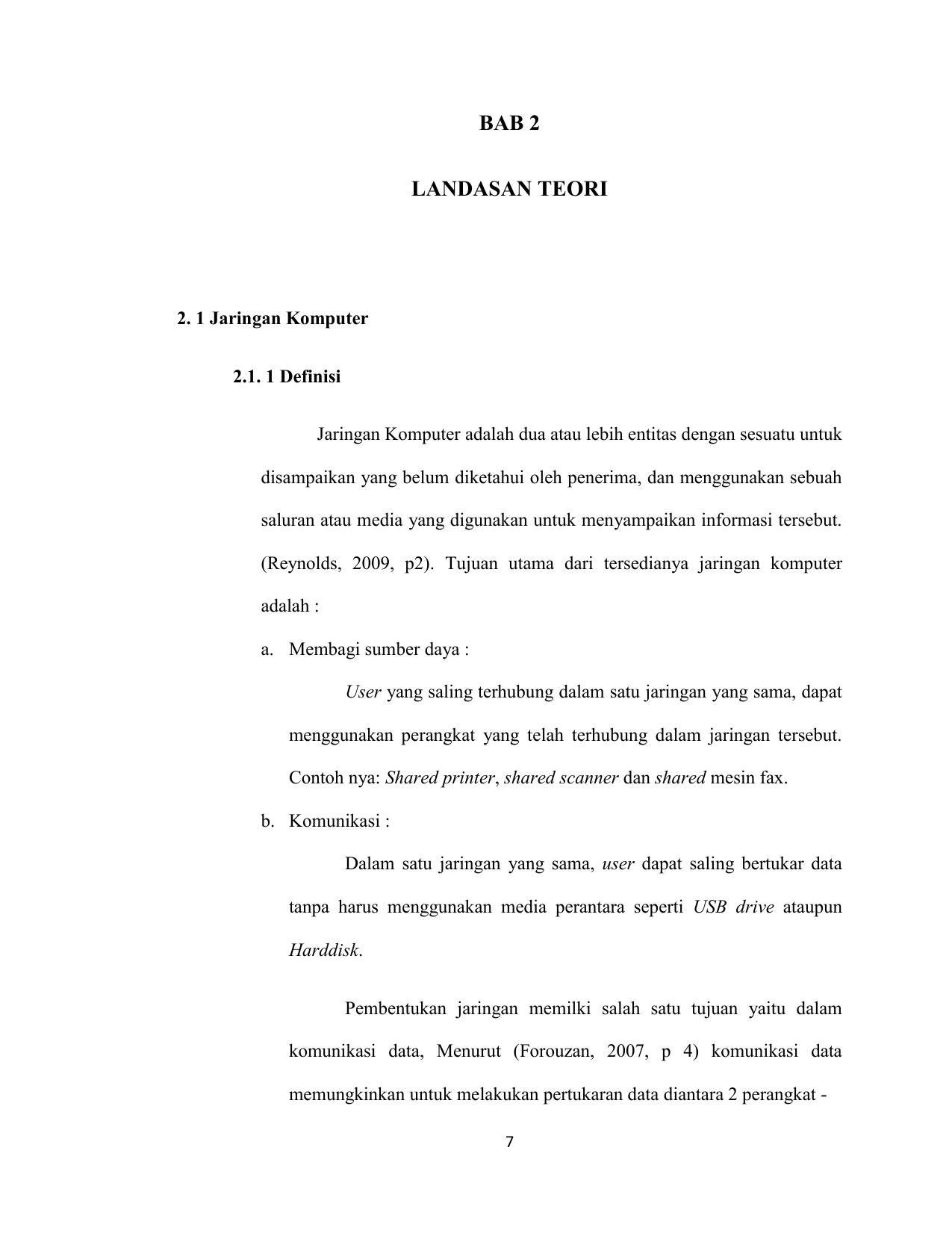 Bab 2 Landasan Teori 2 1 Jaringan Komputer 2 1 1 Definisi