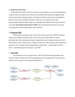 Sistem Basis Data Entity Relationship Diagram Erd