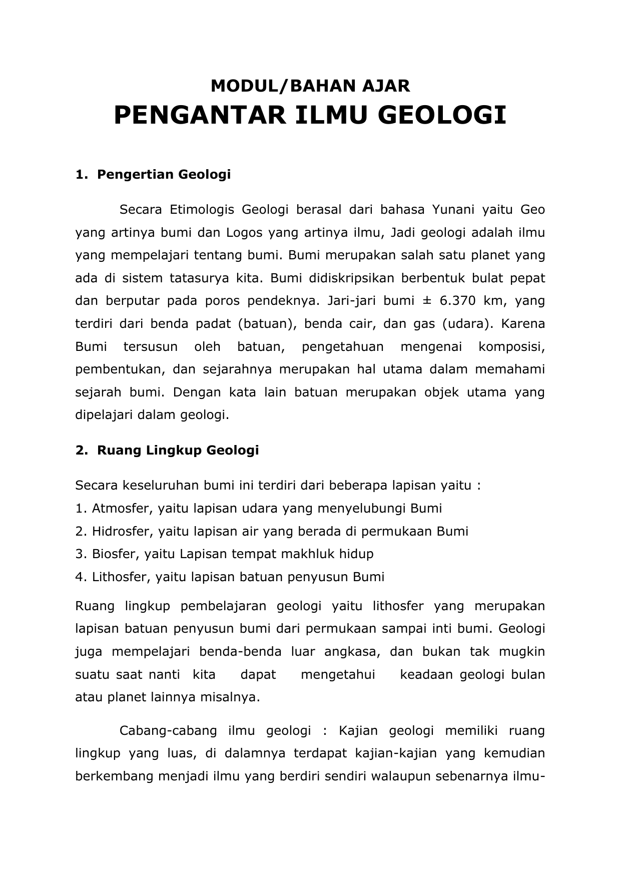 MODUL Pengantar Ilmu Geologi Download Tulisan